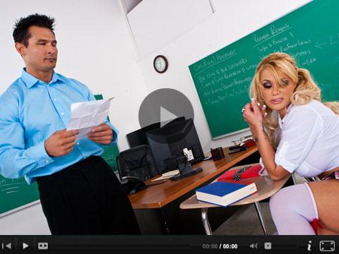 Schoolgirl shyla fucks her teacher Blonde bombshell Shyla Stylez fucks the hell out of her teacher .